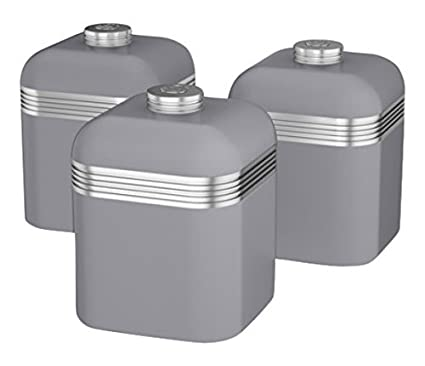 01598a533363 Swan Retro Kitchen Storage Canisters, Iron, Grey, Set of 3: Amazon.co.uk:  Kitchen & Home