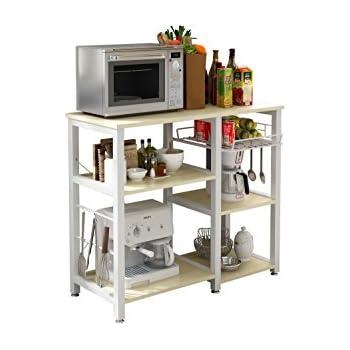 Multi Shelf Wood Kitchen Trolley