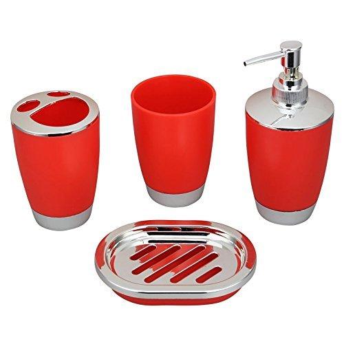 JynXos Bath Countertop Accessory Set, Soap Dispenser Pump, Toothbrush Holder, Tumbler, Wastebasket Trash Can - 4 Pieces (Red) - Valsan Tumbler Holder