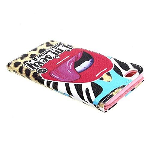 Painting Art Lips Tongue Style Design Magnetisch Beutel PU Leder Stehen Tasche Hülle Schale Schutzhülle Case Cover für Apple iPhone 6 Plus (5.5 inches)