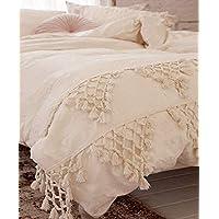 Flber outlet Funda de edredón de algodón con borlas, color marfil, 243,8 x 264,2 cm (218,4…