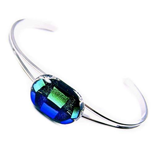 Blue Green Dichroic Glass - Dichroic Glass Cuff Bracelet - 1/2