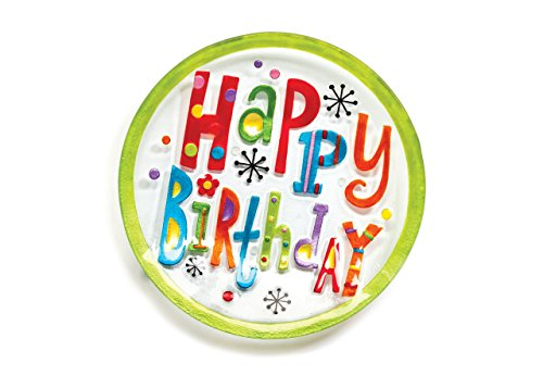 (DEMDACO Silvestri Glass Fusion Happy Birthday Round Plate)