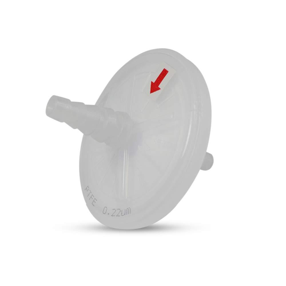 Tisch Brand DF15274 Polytetrafluoroethylene PTFE Disk Filters, 0.22um, 50mm, Stepped Barb: 5/16 to 1/2 inch, 1/pk/10 per Pack | Wettability: Hydrophobic | Volume Throughput (ml): 500-800 | by Tisch Scientific