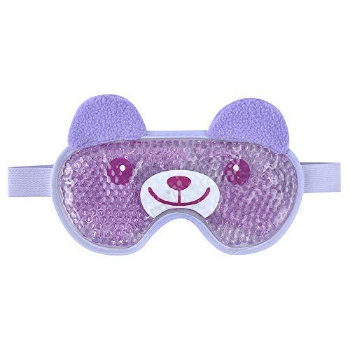Eye Cooling Mask Gel Bead Eye Mask Reusable Cute Eye Mask with Soft Plush, Ice Pack Eyes Mask for Migraines for Women and Men - Bear