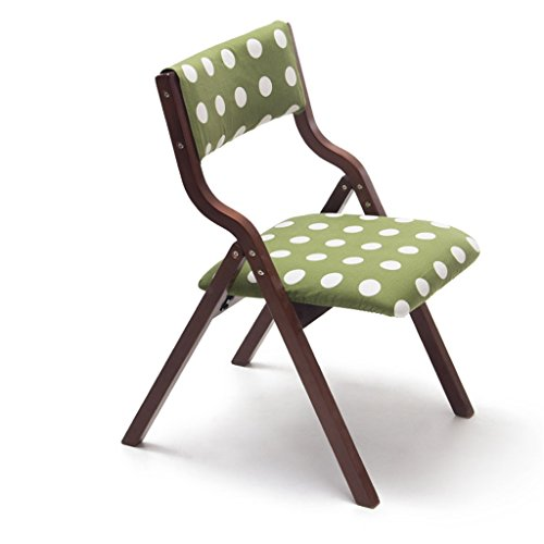 Wooden Folding Chair Backrest which can be Used Desk Dining Makeup Child Learning Chair Home & Commercial Brown Green Polka ()