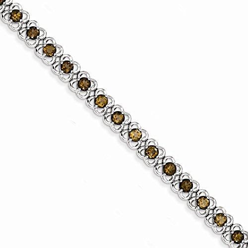 "7"" Sterling Silver Smokey Quartz Bracelet"