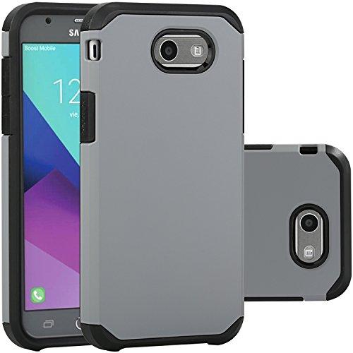Samsung Galaxy J3 Emerge Case/J3 Prime/J3 2017/Amp Prime 2/Express Prime 2/Sol 2/J3 Luna Pro/J3 Eclipse/J3 Mission Case, LUHOURI Hybrid Armor Rugged Defender Protective Case Cover Grey