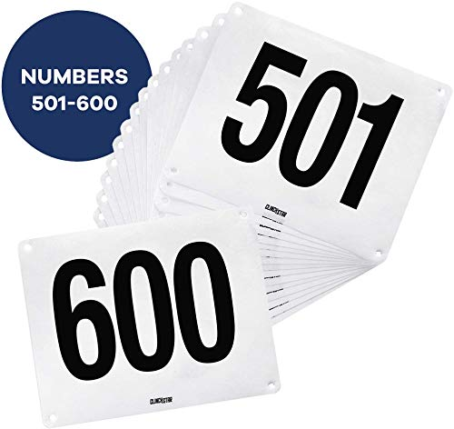 Clinch Star Running Bib Replacements - Large Numbers for Marathon Races and Events - Tyvek Tearproof and Waterproof 6 X 7.5 Inches (Numbers 501-600)
