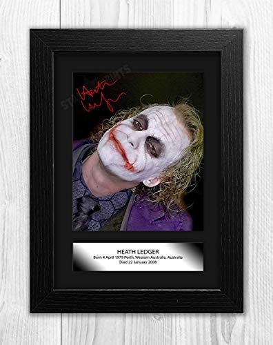 - Engravia Digital Heath Ledger Poster Signed Autograph Reproduction Photo A4 Print (Black Frame)