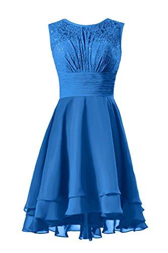 Abendkleider Chiffon Cocktailkleid Beyonddress Spitze Damen Blau Brautjungfernkleider Partykleid Ballkleid Kurz UZwwqEn1a