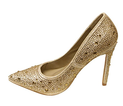 Toe Dorado tacón la Slip On abalorio 96 bombas de belinda nbsp;Pointy brillantes delicacy Zapatos mujer de Zxtqtpg