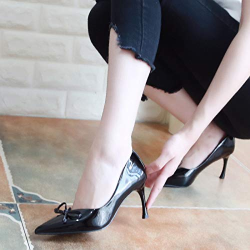 Thirty Apricot Heel Shoes Pointy Fine Shoes Heel Shallow Sexy High Shoes Four 7Cm Thin Women'S Lacquer Bow Color KPHY Tie Mouth Autumn RBwzqFzU