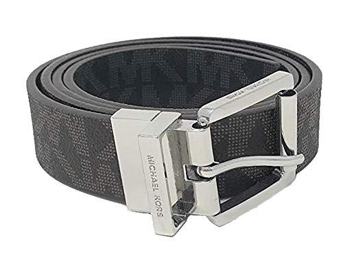 Michael Kors Women's 30mm Brown To Black Reversible MK Logo Monogram Synthetic Leather Belt (L)