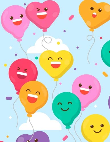 Party Notebook: Cute Smile Balloon Journal Book Ruled Lined Page For Kids Teen Girl Boy Women Kindergarten Preschool Primary School Great For Writing ... Book (Large, 8.5 x 11 Inches) (Volume 2)