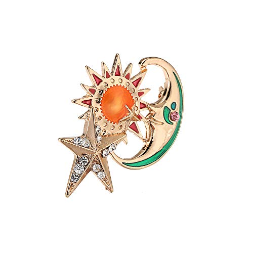 Enamel Metal Sun Moon Star Rhinestone Brooch Pin for Women Man Christmas Gift