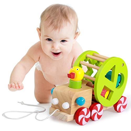 Pull Along Walking Car Baby Toddlers Kids Children Early Educational Learning Toy with Family ()