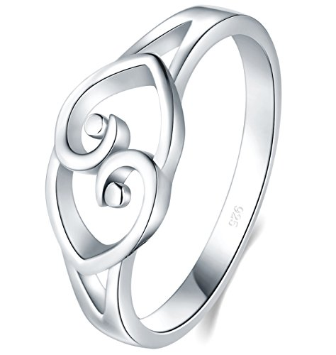 925 Sterling Silver Ring, Boruo Two Hearts Linked High Polish Tarnish Resistant Comfort Fit Ring Size 12 - Tarnish Resistant Sterling