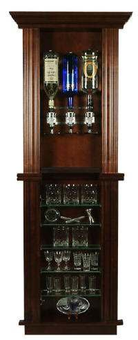 Large Bar Back Booze Dispenser with Rocks Glass Shelves Cabinet