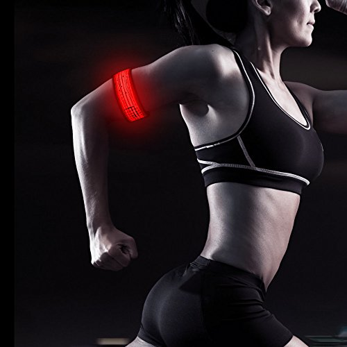 Higo LED Light up Armband, Water Resistant Glowing LED Slap Bracelet with Reflecive Printing, Safety Road Sign for Running, Jogging, Cycling(Red-Design (Bicycle Snap)