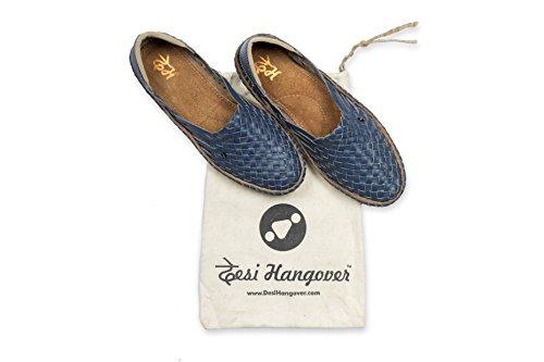 Leather Blue Handmade Desi Pure Men's Shoes Hangover Hola qxPPOtTg
