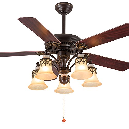 Andersonlight Reversible Ceiling Fan 52 inches 5 Wood Blades 5 Frosted Glass Shade Pull Chains Bronze Finish Multi-Speed High / Medium / Low Mute Energy Saving Home Decoration FS113 by Andersonlight