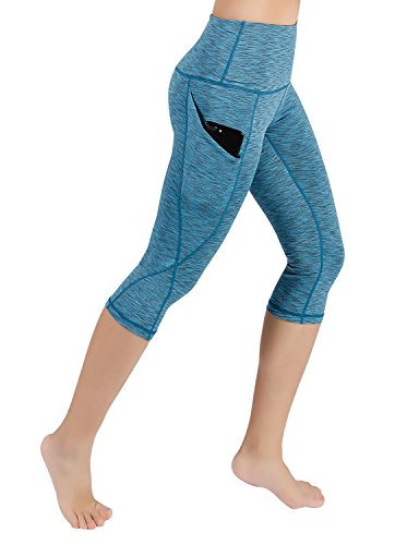 Leggings Crop Stretch (ODODOS High Waist Out Pocket Yoga Capris Pants Tummy Control Workout Running 4 Way Stretch Yoga Capris Leggings,SpaceDyeBlue,XX-Large)