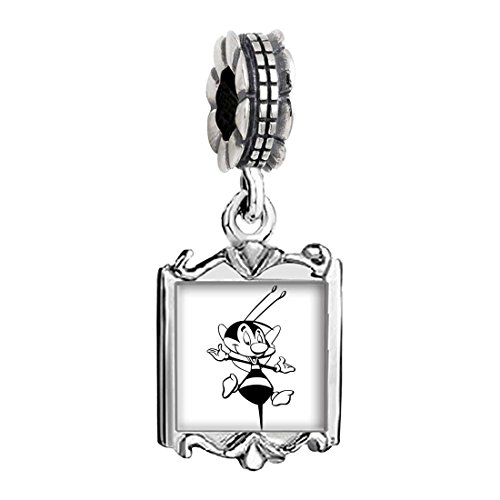 Charms Baby Bee (Silver Plated Happy Honeybee Photo Family Mom & Baby Girl & Dad Dangle Bead Charm Bracelet)