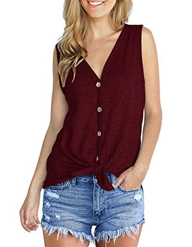 (Womens Loose Blouse Sleeveless V Neck Button Knit Tunics Tops Tie Front Knot Casual T Shirts Wine Red)