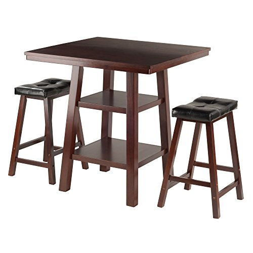 Winsome Wood Orlando 3 Piece Set High Table, 2 Shelves with 2 Cushion Seat Stools (Orlando Furniture Wood)