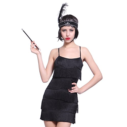 Fringe Style 1920's Flapper Girl Charleston Gatsby 6 layer Fancy Dress Costume Cigarette Holder (Charleston Black Flapper Costumes)