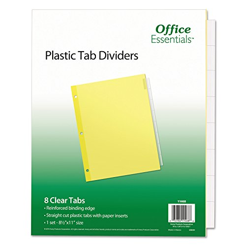 Office Essentials 11468 Plastic Insertable Dividers, 8-Tab, Letter