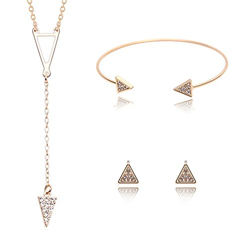 [Womens Girls Stainless Steel Jewelry Sets Fashion Cute Triangle Circle Pendants Necklaces Stud Earrings Bracelets (61163020-Gold)] (Yellow Gold Costume Jewelry)