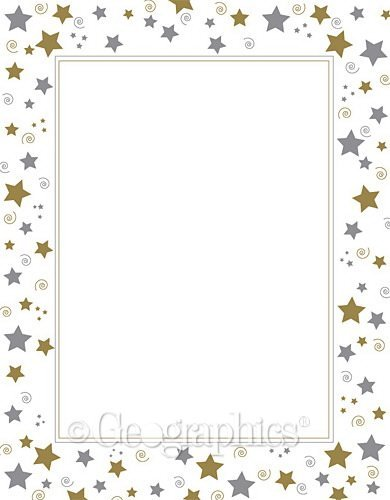 Geographics Stars and Swirls Foil Business Letterhead, 8.5 x 11 Inches, Gold Silver, 40-Sheet Pack (47103) by Geographics - Geographics Foil
