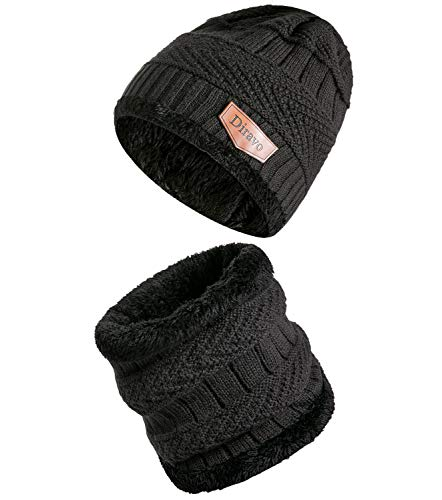 - [2 Piece] Beanie Hat Scarf Set-Sloutchy Winter Warm Knit Skull Cap and Scarf for Women Men