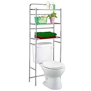 Tatkraft Tanken 3 Tier Bathroom Shelves Unit Over Toilet Chrome Plated  Steel 59.5X26X151.5 Cm