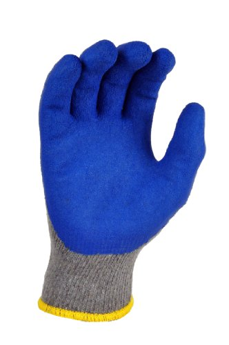 G & F 3100XL-10 Rubber Latex Coated Work Gloves for Construction, Blue, Crinkle Pattern, Men's XLarge (120 (Latex Dipped Work Gloves)