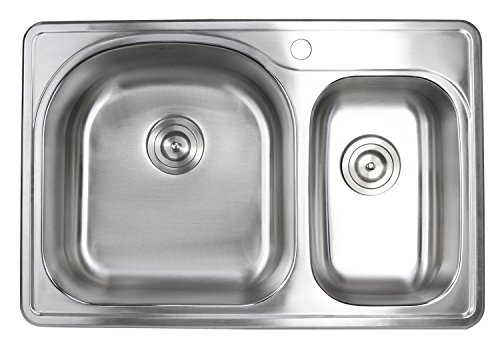 33 Inch Top-mount/Drop-in Stainless Steel 70/30 Double Bowl Kitchen Sink With 1 Faucet Hole - 18 ()