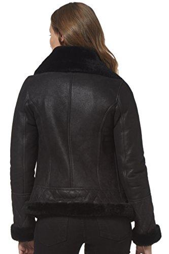 para estilo piel Moda con de Corta de oveja Stylish oveja piel NV ciclista de real mujer Chaqueta negra de 89 Chaqueta para BUXqgwEwO