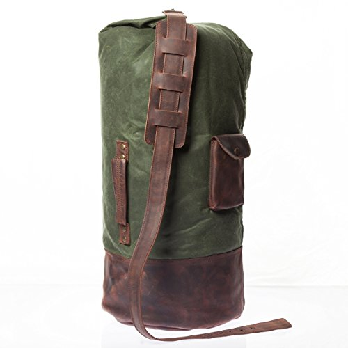 Vintage Handmade Waxed Canvas Duffle Bag - Made From Alcanena Leather & UK Waxed Cotton - High Quality Retro Overnight Bag With Waterproof Lining by Tram 21