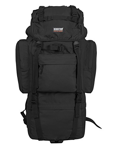 Seibertron Military Molle Backpack 900D Oxford Waterproof Tactical Hiking Camping Backpack 65L Internal-frame Travel Sports Bag, Free Rain Cover Included black