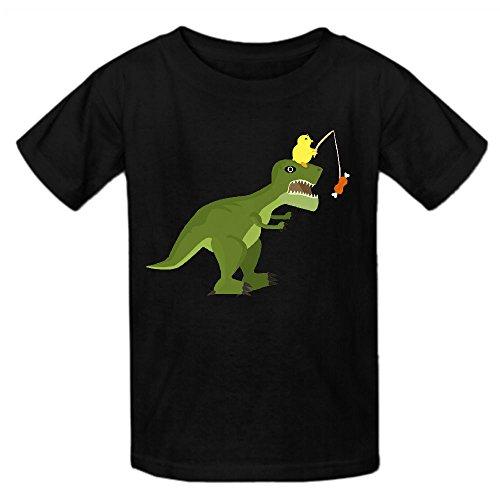dinosaur-chicken-play-game-girls-crew-neck-cotton-t-shirt-black