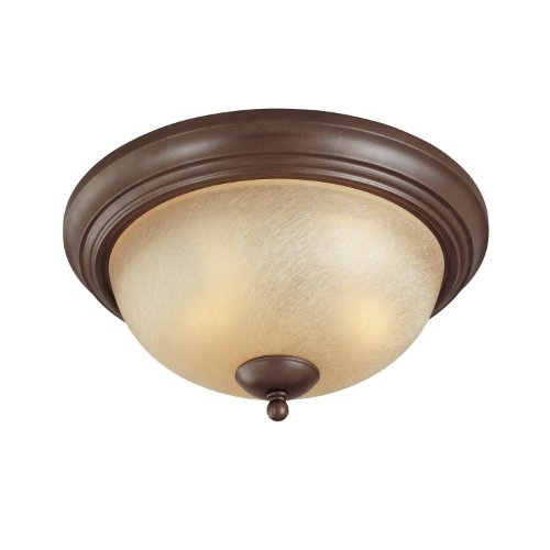 Westinghouse Lighting 6945000 Two-Light Flush-Mount Interior Ceiling Fixture, Saddle Bronze Finish with Antique Amber Scavo Glass