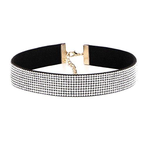 Molyveva Women Choker Velvet Ribbon Collar Classic Rhinestone Necklace Extender Chain Adjustable Neck (White)