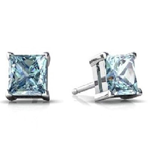 - Simulated Aquamarine Princess Cut Stud Earrings .925 Sterling Silver