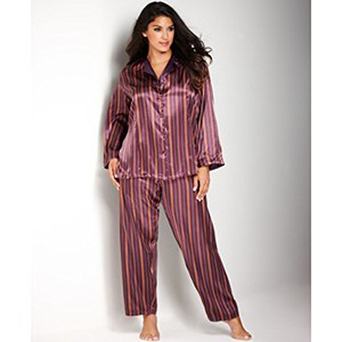 Jones New York Women 2pcs Button Front Sleep Shirt with Pant Plum Stripe Xx-large