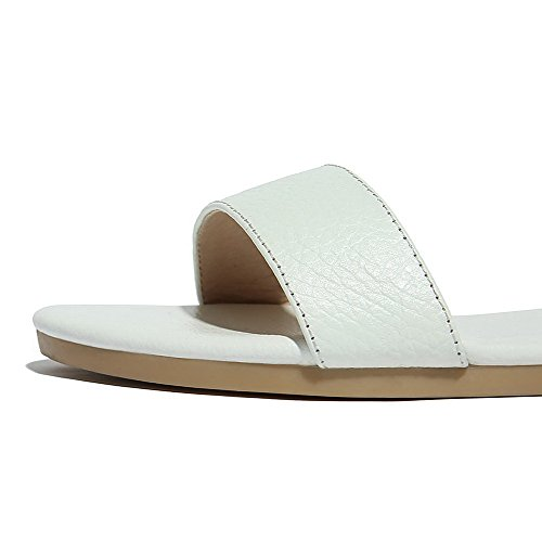 Open Heels Womens Buckle Low Toe Sandals X White Solid PU AalarDom 5wO4Aqw