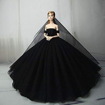 Zehui Wedding Dress Tutu Dress Elegant Boat Neck Collar Evening Long Dress 30cm Dolls,Handmade Clothes Dress 30cm Doll Xmas Gift (Without Dolls): Toys & Games
