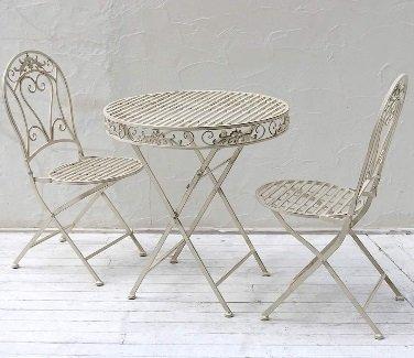 屋外 テーブルセット ホワイト ブランティーク アイアン テーブル&チェア 3点セット B01LD38OZK