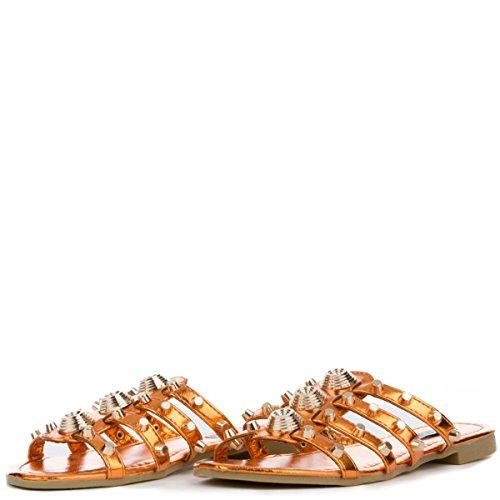 CAPE ROBBIN Women's Vintage Flat Studded Slipper Open Toe Slide Fashion Sandal (7.5, Orange) (Vintage Slide)